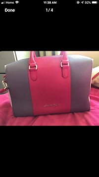 Women's pink leather tote bag