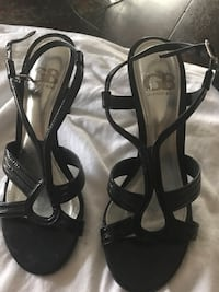 pair of black Gianni Bini strappy sling-back open-toe pumps