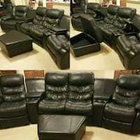 Used Black Leather Couch And Ottoman For Sale Letgo