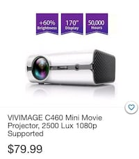 Vivimage C460 Mini Movie Projector 2500 X 1080P Supported South Gate
