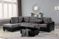 Grey Linen & Leather Reversible Sectional Sofa Cup Holders Ottoman Houston, 77065