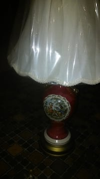 white and red table lamp ATLANTA