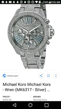 round silver chronograph watch with silver link bracelet screenshot Aiea, 96701