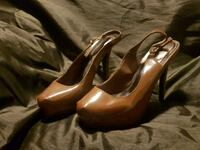 pair of brown leather peep toe platform stilettos Calgary, T2Z 0K8