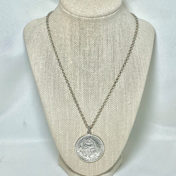 Antique Peruvian Silver Coin Pendant with Sterling Silver Chain 36506898-9503-45f3-b467-446d52790038