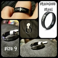 Stainless steel men's black band ring engraved