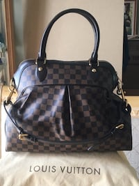 Authentic Louis Vuitton Large Leather Hand Bag  Damier Ebene Canvas Vaughan, L6A 3S1