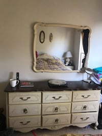 Dresser and mirror brown and cream contrast Ashburn, 20147