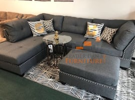 Brand new gray linen sectional sofa with ottoman