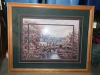 """Picture, Cottages and Streams, 44"""" x 36-1/4"""", oak frame, $32 OBO. Gilbert, 85297"""