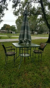 Square bar height glass patio table and umbrella Lutz, 33549