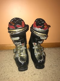 black-and-red ski boots