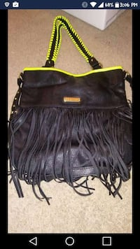 black and yellow fringe two way bag