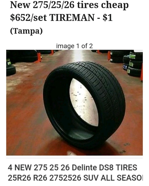 Tires For Cheap >> New 275 25 26 Tires Cheap 652 Set Tireman