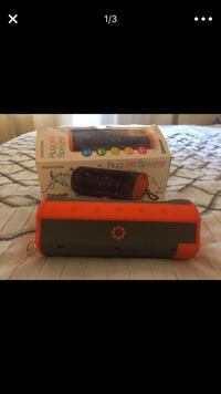 red and black Nintendo 3DS with box