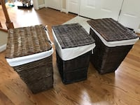 (3) Dark Brown Wicker Hampers Columbia, 21044