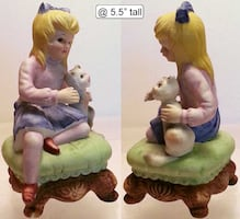 Girl & Cat on Stool Figurine