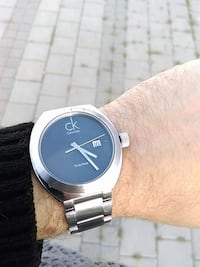 silver calvin klein analog watch