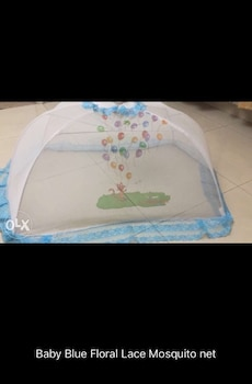 baby blue floral lace mosquito net
