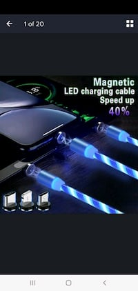 Magnetic LED USB 3 in 1 Charging Cable for Android,  Apple & Type C Newmarket, L3X 3K6