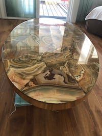 Oval Onyx Table with brass band Los Angeles, 90232