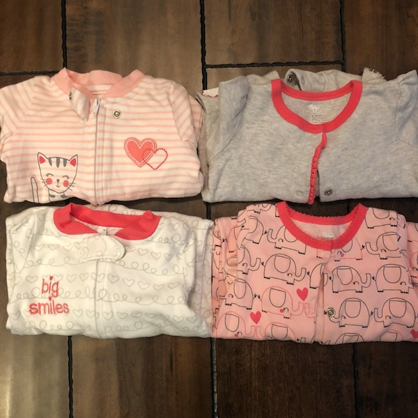 ee7166a78 Used Baby Girls Footed sleepers Size 3-6 months for sale in Burnaby ...