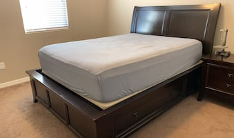 Queen size bed frame with two pullout drawers and nightstand