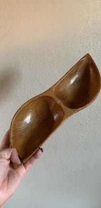 Brown wooden candy dish made in Haiti 1459 mi