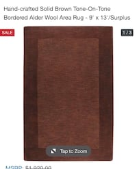 Chocolate Brown Wool Rug New 9X13 Arlington, 22206