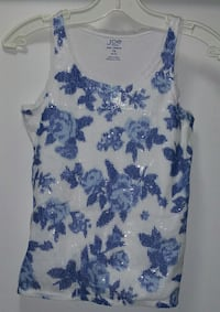 white and blue floral tank top Hamilton