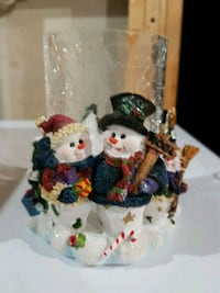 Snowmen Cracked Glass Candle Holder $2-Porch pickup