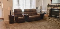Brown leather 3-seat recliner sofa REDUCED Rancho Cucamonga, 91739