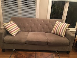 Most comfortable microfiber sofa . Best size for apartment, great condition. I am moving out and have to sell.
