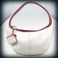 Coach White with Red Piping Hobo Bag
