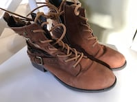 pair of brown leather lace-up calf boots Petersham, 2049