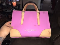 women's pink and beige leather hand bag