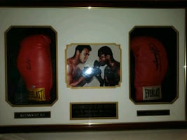 Autographed Authentic Ali and Frazier Boxing Gloves COA in frame