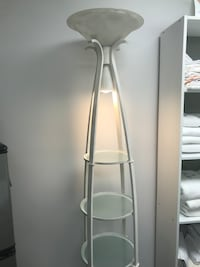 White 3-layer rack floor torchiere lamp