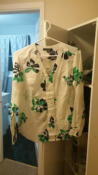 white and green floral button-up shirt
