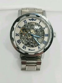 round silver-colored chronograph watch with link bracelet Carle Place, 11514