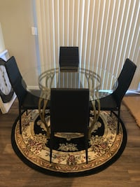"48"" round glass table with matte gold base(chairs, rug and clock not included) *minor imperfections Las Vegas, 89141"