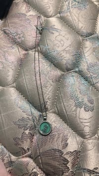 silver-colored necklace with green gemstone pendant Clanton, 35046