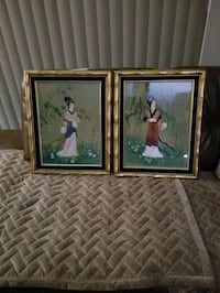 Bamboo gold framed Geisha ladies in glass