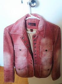 Danier Women's Red Washed Leather Jacket Toronto