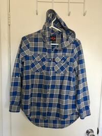 Women's flannel plaid shirt hoodie size medium