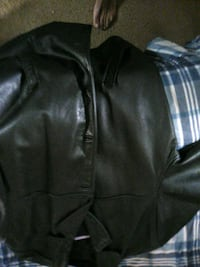 black leather zip-up jacket Washington