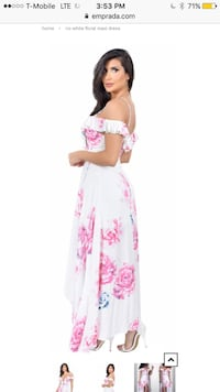 New Emprada White and Pink Floral Maxi Dress S