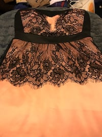 Women's light pink strapless short dress with black lace size medium North Dumfries, N1R