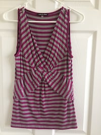 Gray and pink sleeveless surplice-neck top