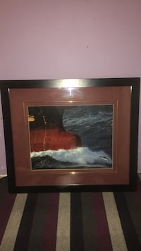 sea waves painting with black frame Calgary, T2M 1P6